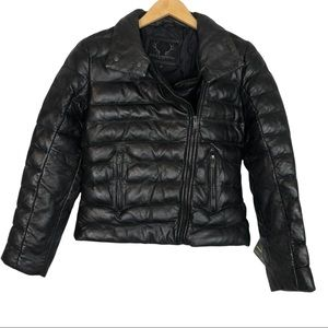 Bod & Christensen Puffer Moto Biker Jacket Leather